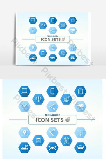 conjunto de ícones de tecnologia 1 para computador e elemento gráfico de vetor de ícone de inteligência artificial Elementos gráficos Modelo EPS