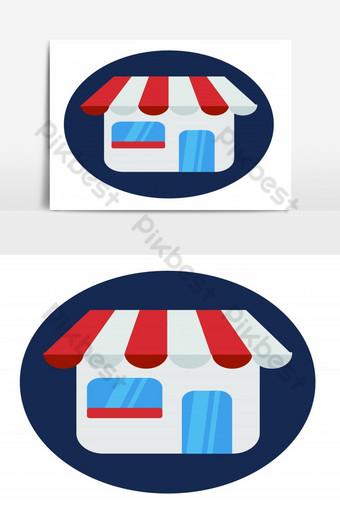 Icono de frente de tienda aislado sobre fondo blanco ilustración vectorial compras en línea Elementos graficos Modelo EPS