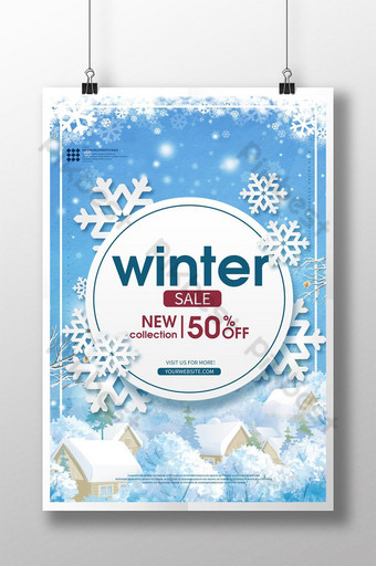 Blue winter snow change season promotion poster template Template PSD