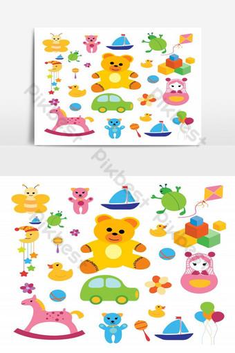 conjunto de juguetes para niños elemento gráfico vectorial aislado Elementos graficos Modelo PSD