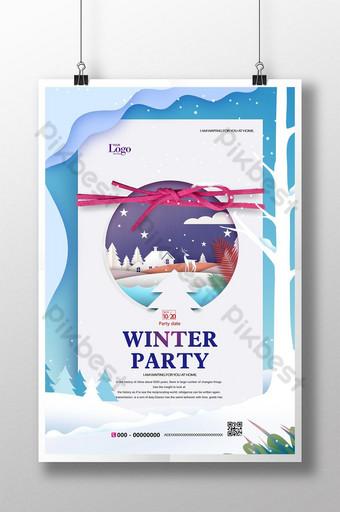 Modèle d'affiche de flyer de promotion d'événement de fête d'hiver bleu Modèle PSD