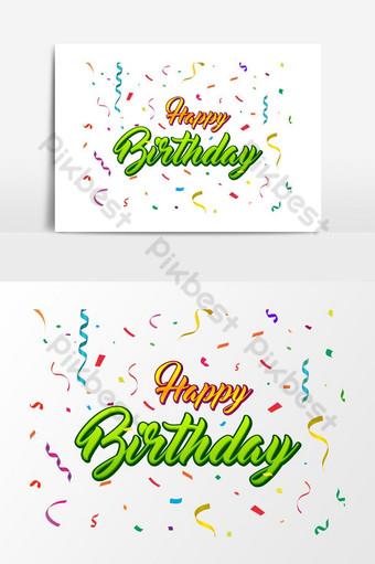 letras de feliz aniversário com fundo de confetes coloridos Elementos gráficos Modelo AI