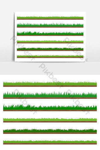 Collection of green grass border set isolated vector graphic element PNG Images Template AI
