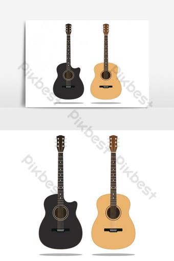 gitar kayu hitam dan coklat diatur terisolasi pada ilustrasi vektor latar belakang putih Elemen Grafis Templat AI