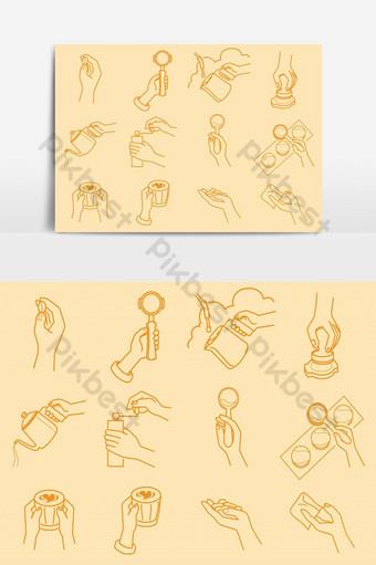 Coffeeeeeee haciendo con la ilustración de la mano Elementos graficos Modelo EPS