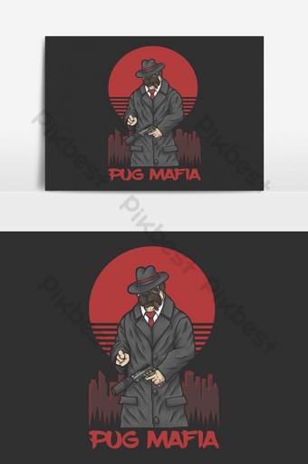 Ilustración de vector de mafia pug para su empresa o marca Elementos graficos Modelo EPS