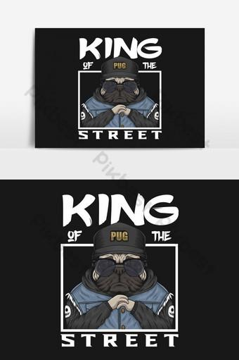pug king of the street ilustración vectorial para su empresa o marca Elementos graficos Modelo EPS