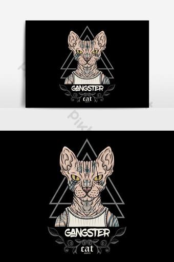 sphynx القط الوشم العصابات التوضيح النواقل لشركتك أو العلامة التجارية صور PNG قالب EPS