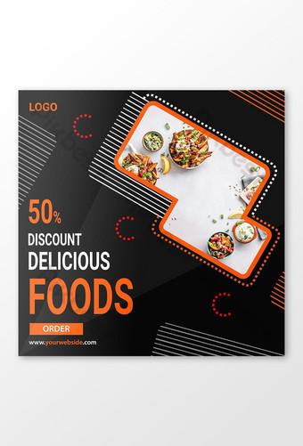 diseño de publicaciones de redes sociales de comida Modelo AI