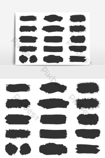 colección de conjunto de vectores de trazo de pincel grunge aislado sobre fondo blanco Elementos graficos Modelo AI