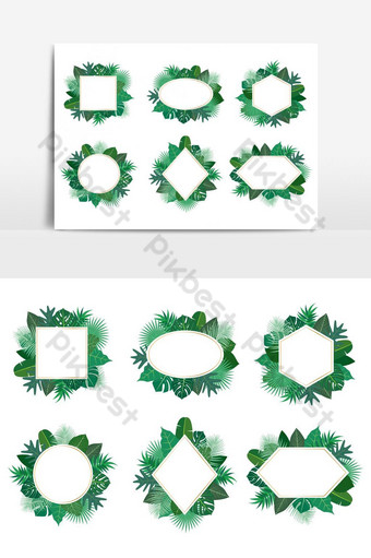 Collection of exotic botanical design tropical leaves frame vector set on white background PNG Images Template AI