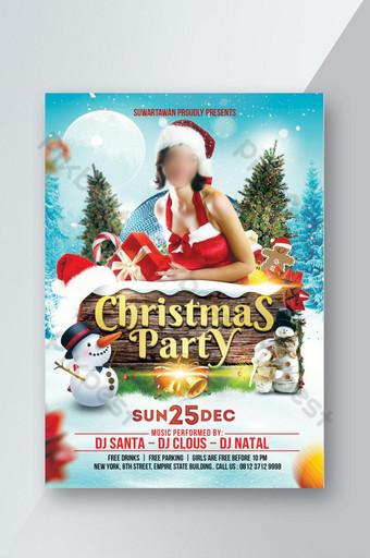 Modèle Photoshop de flyer de fête de Noël Modèle PSD