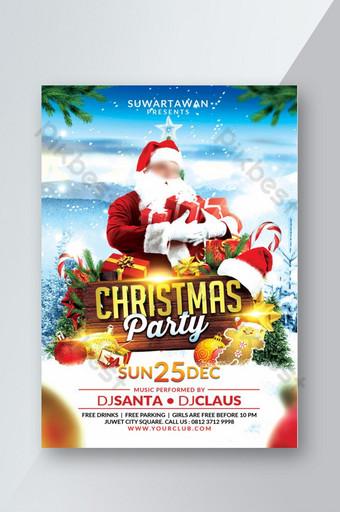 Flyer de fête de Noël Modèle PSD