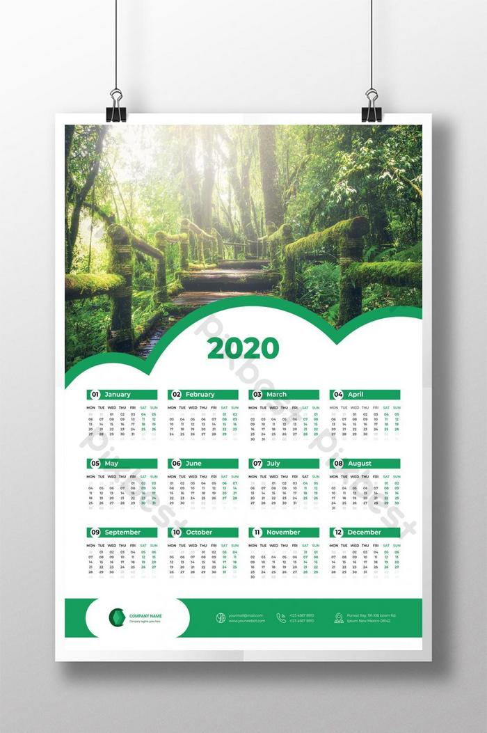 mẫu sẵn sàng in lịch một trang 2020