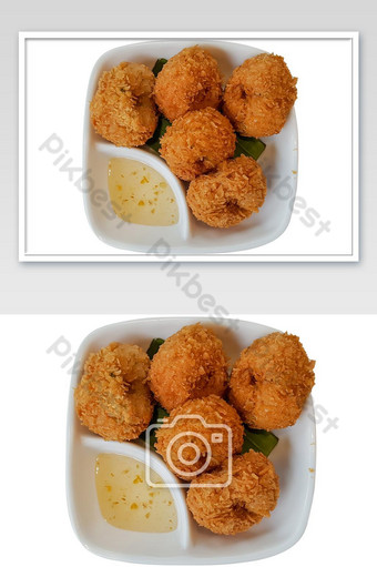 Deep-Fried shrimp cakes on isolate white background with clipping path. Photo Template JPG