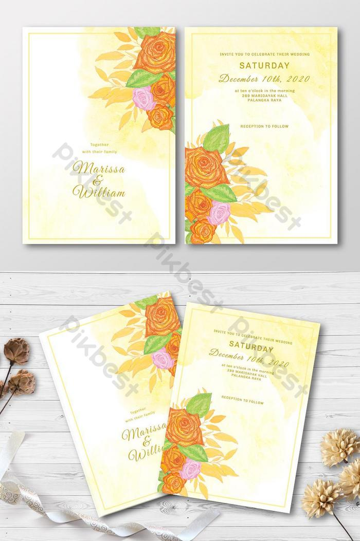 floral orange wedding invitation card