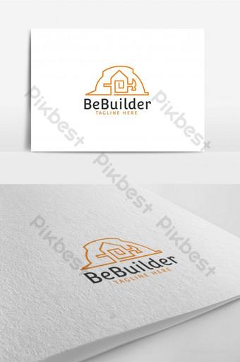 constructor, sombrero, martillo, casa, edificio, construcción, logotipo, diseño, plantilla Modelo AI