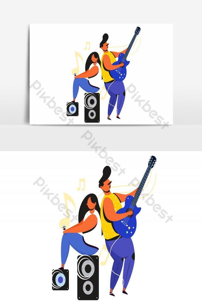 мужчина женщина певица эскиз Иллюстрация вектор
