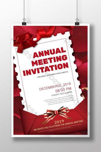 Plantilla de cartel promocional de folleto de invitación de notificación de sobre minimalista rojo Modelo PSD