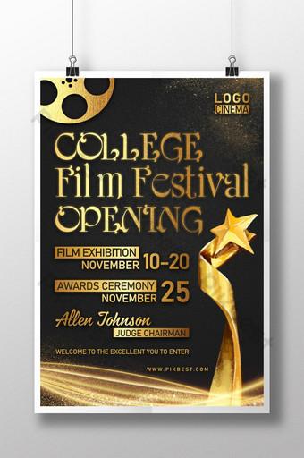 poster pemberitahuan festival film gaya emas hitam Templat PSD