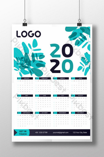 2020 Wall Calendar Template -12 Months Included Template AI