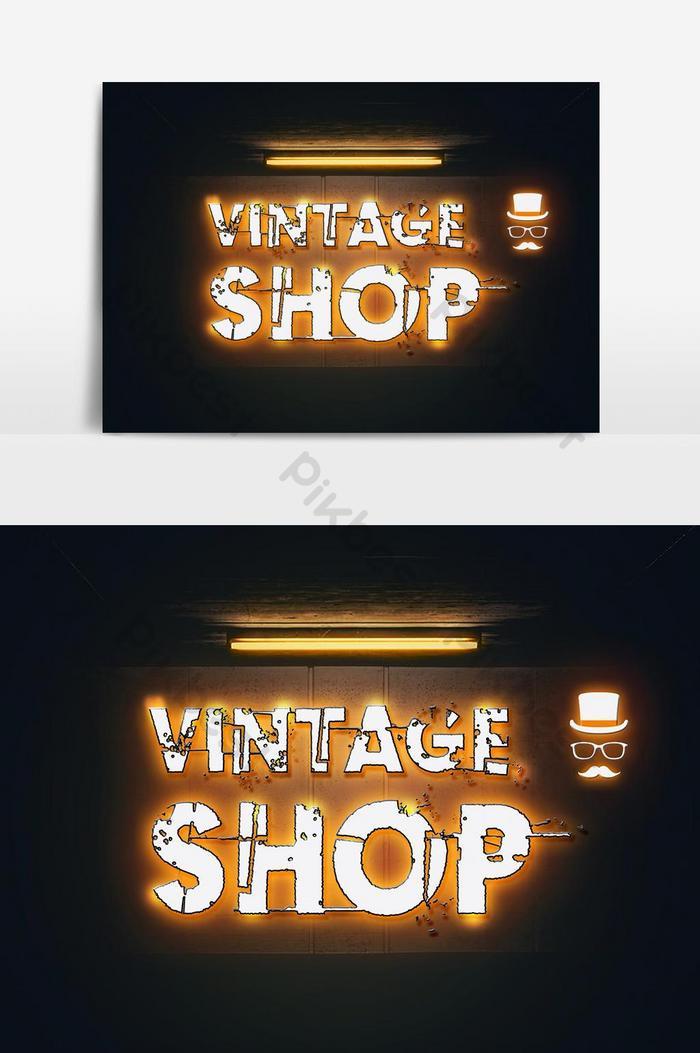 kesan teks pencahayaan neon kedai vintaj