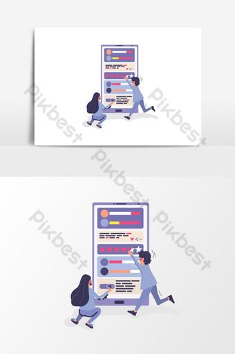 Ilustración de gestión de diseño de interfaz de usuario de calificación de redes sociales de smartphone Elementos graficos Modelo AI