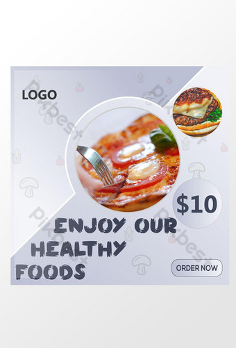 diseño de anuncios de redes sociales de alimentos saludables Modelo AI
