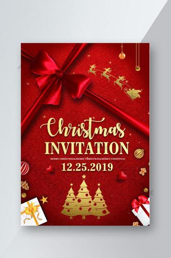 diseño de volante de cartel de invitación de navidad de cinta roja Modelo PSD