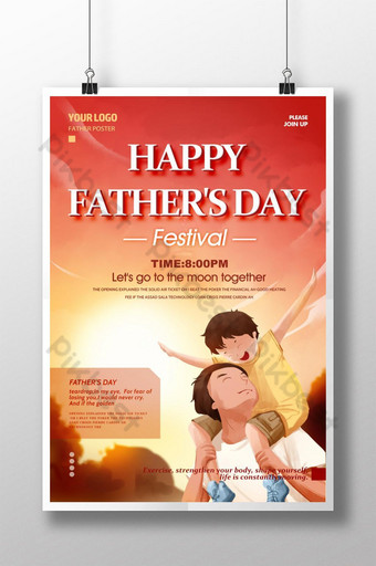 national father's day poster, modern thai fashion Template PSD