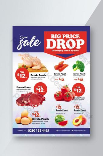 Modèle de Flyer de vente de promotion de supermarché Modèle PSD