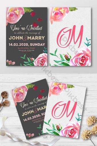 دعوة زفاف قالب بطاقة فريدة من نوعها قالب PSD