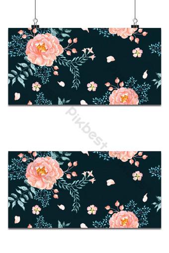 無縫模式深橙色背景上的橙色玫瑰花束鮮花水彩 背景 模板 PSD