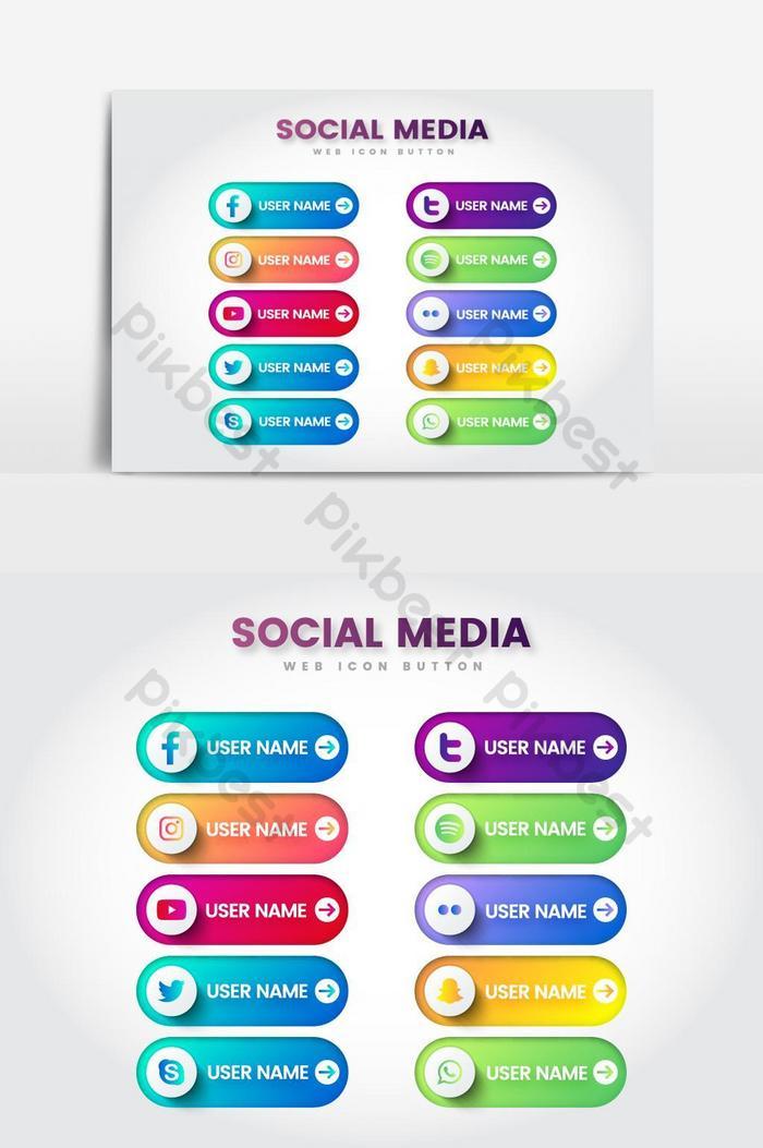 значок социальных сетей веб-кнопка вектор графический элемент