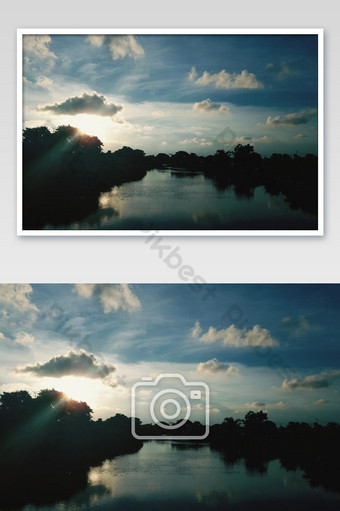 Landscapes nature evening with sun light and beautiful cloud and sky Photo Template JPG