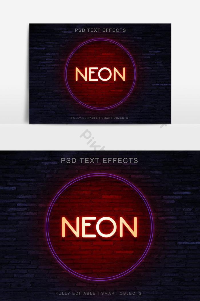 Неоновый круг стиль текстовый эффект дизайн Элемент векторной графики
