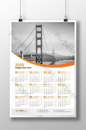 Modello di calendario da parete 2020 Sagoma AI