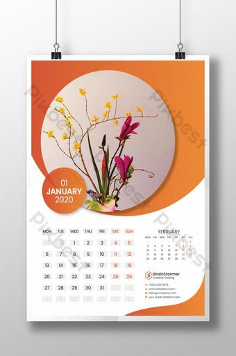 Modello di calendario 2020 Sagoma AI