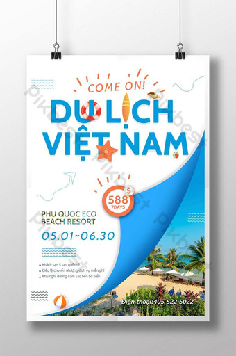 Vietnam leisure travel seaside leisure activities Template PSD