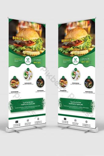 comida hamburguesa roll up banner señalización standee Modelo PSD