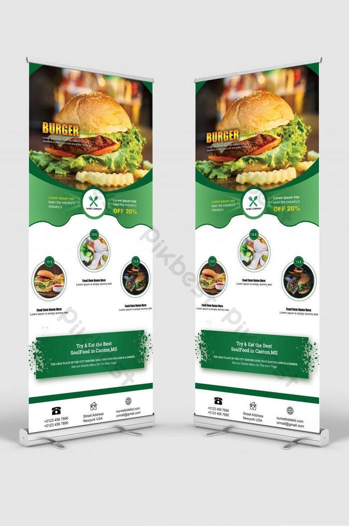食品漢堡捲起橫幅標牌站