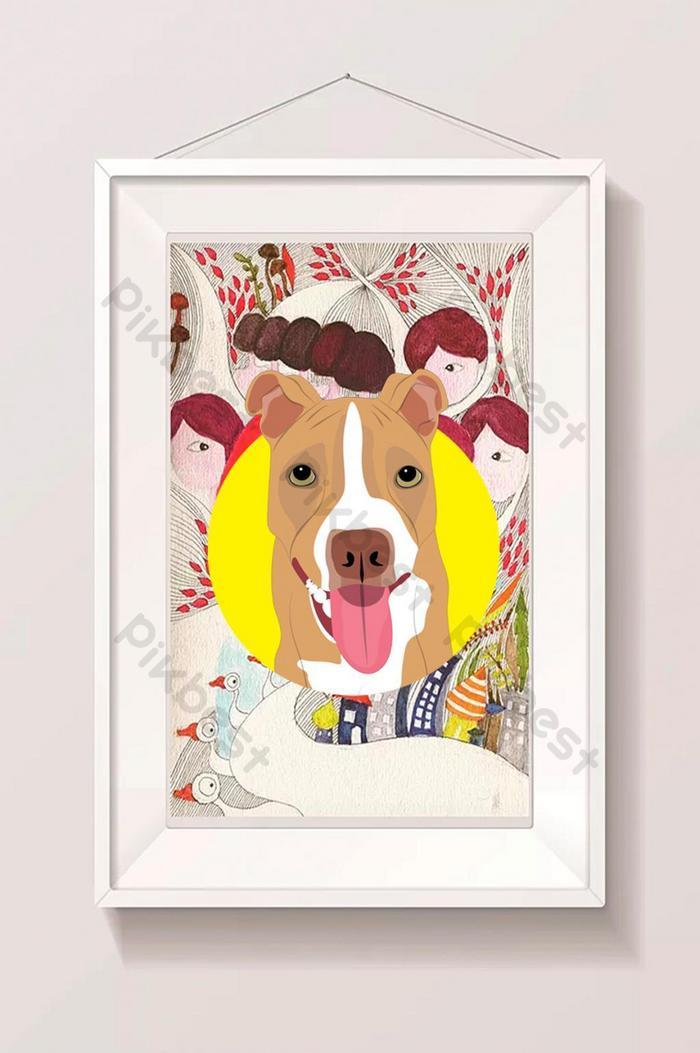 pionowa ilustracja psa