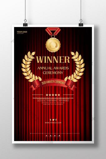 Plakat przedstawiający nowoczesną ceremonię wręczenia nagród w kolorze czerwonym i złotym Szablon PSD
