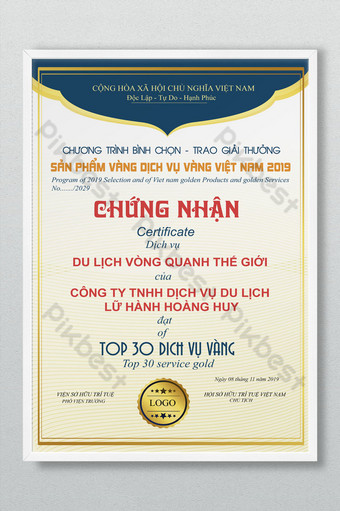 Certificate of travel company reaching the top 30 gold services Template AI