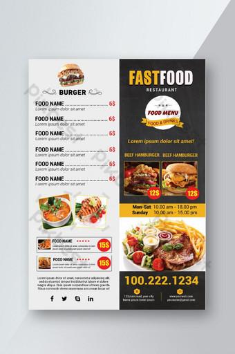 modelo de folheto de menu de hambúrguer Modelo PSD