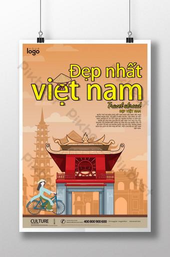 cartel de turismo de vietnam de silueta de ciudad elegante y simple Modelo PSD