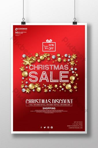 cartel de promoción de descuento de navidad rojo y dorado de moda de lujo simple Modelo PSD
