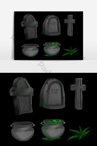 Collection de tirages à la main de pierre tombale d'Halloween Éléments graphiques Modèle PSD