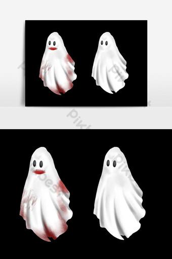 Halloween Bloody Poltergeist Ghost tirage à la main Éléments graphiques Modèle PSD
