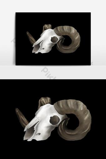 Tirage à la main de crâne animal Éléments graphiques Modèle PSD